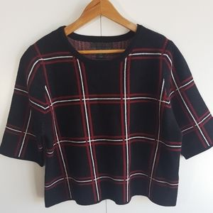 TAHARI Large Check Plaid Cropped Sweater Size Med